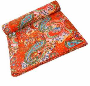 Queen/Twin Bedcover Indian Throw Kantha Quilt Cotton Bedspread Paisley Blanket