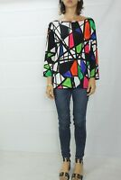 FEATHERS Boutique Mosaic Stretch Long Sleeve Top Size XXL (18) rrp $129.99
