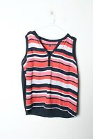Tommy Hilfiger Womens Chiffon Striped Sleeveless Cami Blouse Large (L-GG3)