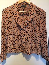 Topshop Leopard Pink Shirt Blouse, Size UK8/EU36