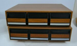 Cassette Tape 2 Storage Holders Vintage 3 Drawer 42 Audio 2 Cases Faux Wood