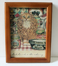 """Eat Drink and Be Hairy Cat Picture Framed 8""""x6"""" Art Behind Glass"""