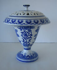 Bombay Cobalt Blue White Porcelain Covered Compote Footed Pedastal Pierced Lid