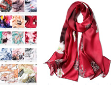 100% Silk Satin Women Scarf neckerchief Shawl large Wrap Floral red S316-006