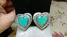 VINTAGE NAVAJO PILOT MOUNTAIN TURQUOISE HEART STERLING SILVER CLIP EARRINGS