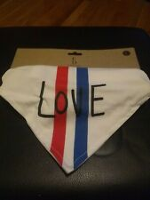 """ELLEN DEGENERESNWT Large Red White Blue Dog Bandana Collar LOVE 16.5"""" - 26"""""""
