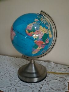 """World Globe Touch Lamp Electric Vintage Working 3 light settings 12.5"""" Tall"""