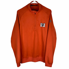 Mercer Bears Adidas Golf 1/2 Zip Pullover Jacket Men's Small Orange Stretch