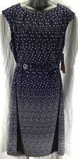 I LE New York Womens Dress Size Plus 14W Blue White New R620