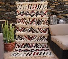 Vintage Wedding Blanket Moroccan Handira Handmade Berber Sequins Throw Rug 014