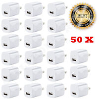 50x White 1A USB Power Adapter AC Home Wall Charger US Plug for iPhone 5 6 7 8 X
