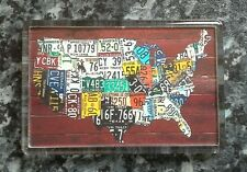 Map of the United States License Plates Fridge Magnet. NEW. USA, America
