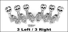 Chrome Skull Electric Guitar Tuners/Machine Heads: 6pcs. 3 Left/3 Right