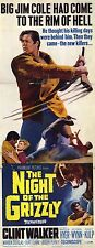 THE NIGHT OF THE GRIZZLY Movie POSTER 14x36 Insert Clint Walker Martha Hyer
