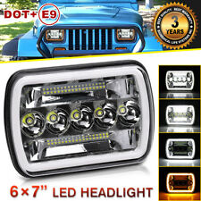 5x7'' 7x6'' LED Headlight Halo angel eyes DRL For Jeep Cherokee XJ Wrangler YJ