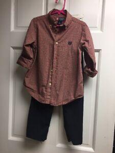 Chaps Boys5 Plaid L/s Shirt ,Kenneth  Cole Reaction Navy Pants 5