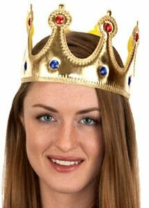 RENAISSANCE MEDIEVAL PRINCE KING QUEEN COSTUME CROWN HAT GOLD JEWELED ADULT