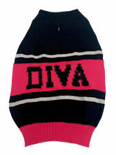 """Diva Dog Sweater Hot Pink Black & White  Medium 17 to 22"""" inches neck to tail"""