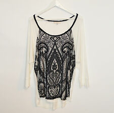 HALO Womens Black Ivory Stretch Lightweight Lace Top Tunic Size XL Brand New NWT