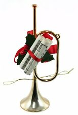 Brass Horn Instrument Sheet Music Holly Christmas Ornament Holiday Decoration