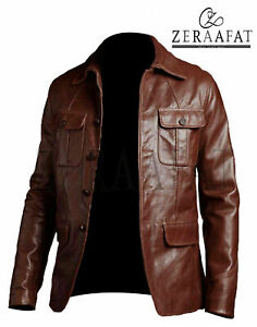 Men's Leather Jacket Blazer Coat 100% Genuine Sheepskin Leather by Zeraafat