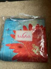 $595! Nwt Ann Gish Flower Power Turquoise Floral Throw Blanket - Gorgeous!