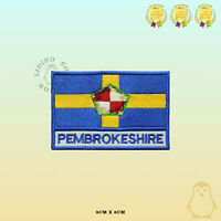 PEMBROKESHIRE County Flag With Name Embroidered Iron On Sew On Patch Badge