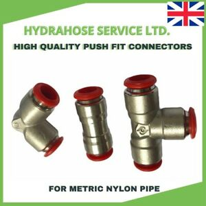 Pneumatic Push In Fittings Nylon Pipe Tubing for Air/Water Straight Tee Elbow