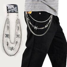 Skull Men Trouser Pants Belt Key Chain Punk Skull Jean Gothic Rock Silver 3-Row