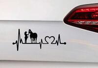 Pferde Aufkleber Frau und Pferd Herz Schlag Auto Sticker Heart Liebe Horse Love