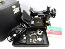 Great Vintage 221 Singer Featherweight Sewing Machine w/Case & Accessories