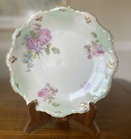 Antique LIMOGES Latrilles LS&S Hand Painted Mint Green Pink Gold Floral Plate