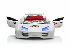 Jugendbett GT 999 Weiß Vollausstattung mit Türen Sound LED - Kinderbett Autobett