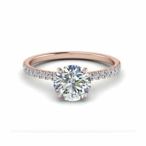 14K Rose Gold Round Cut 2.35 Ct Stunning Diamond Engagement Rings Size M N O P Q