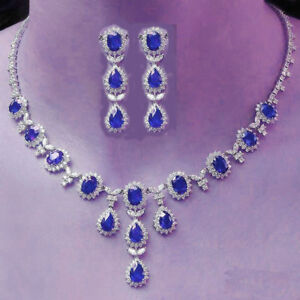 TOP GRADE BLUE SAPPHIRE OVAL PEAR NECKLACE EARRINGS IN PLATINUM LOOK