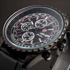 Silvertip SHARK Black Date Day Stopwatch Leather LCD Quartz Men Wrist Watch