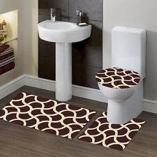 New Style Bathroom Set Bath Rug Contour Mat Toilet Lid Cover #7 Geometric Brown