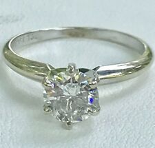 1.02ct. European cut Solitaire Diamond GIA $5,750 Engagement Ring 14k White Gold