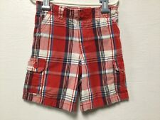 Toddler Boy Cargo Style Shorts Size 4T Red White Blue Elastic Back Healthtex 131