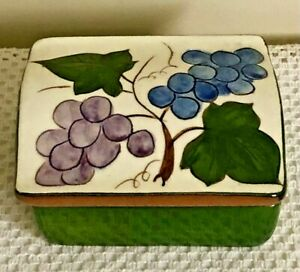 Strangle Pottery Trinket Cigarette Box Grape Pattern Vintage