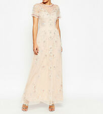 SALON Beaded Floral Mesh Maxi Dress - Pink UK 8 RRP £150