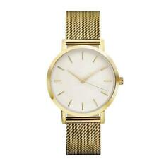 Women Girls Quartz Watches Golden Stainless Steel Dress Analog Wrist Watch