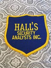 "Vintage Hall's Security Analysts Inc. Patch Blue Yellow 3 3/4 x 3 1/2 "" New #136"
