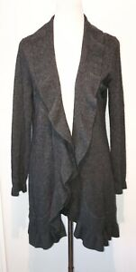 Peck & Peck Gray Cashmere Wool Ruffled Edge Open Front Cardigan Sweater Large