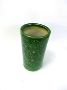 Vase Green Glazed Stone Cylindrical Flower Container choice of Pattern