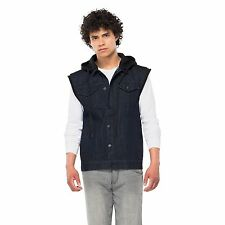 CRASH Men's Dark Denim Button Up Vest Indigo Rinse w/ Removable Hood, Size Large