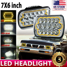 LED Hi/Lo Ambe DRL H6054 7x6 Headlight Clear Replacement For 90-97 Nissan Pickup