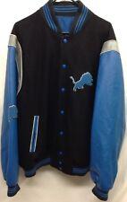 NFL Detroit Lions Mens XL Reversible Coat Jacket Leather Wool Acrylic P15