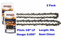 "16 Inch 3/8"" LP Pitch 0.050'' Gauge Semi Chisel Chainsaw Chain 56 Links (2PCS)"