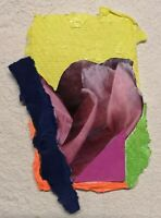 FLOWER COLLAGE ABSTRACT ORIGINAL MINI PAPER ACRYLIC PAINTING NIGEL WATERS SIGNED